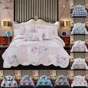 3 PCC Quilted Patchwork Printed Bedspread Pillow Shams Single Double King S.King