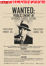 GANGSTER WANTED POSTER ALCATRAZ FBI HOOVER CAPONE SCARFACE IRS VALENTINE MURDER