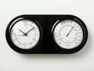 Hearth and Hand With Magnolia Wall Clock and Thermometer Black - Adjustable