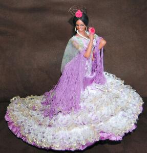 "Vintage Marin Chiclana Flamenco Woman Dancer Purple Dress 12"" Doll"
