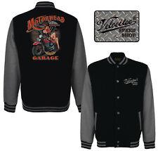 Velocitee Baseball Varsity Jacket Motorhead Pin Up Garage Classic Biker A23622