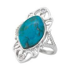Sterling Silver Marquise Chrysocolla & Topaz Ring-Size 10