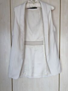 Zara Women's White Sleeveless Long Gilet, Size Small