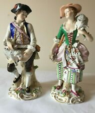 Vintage Pair Of Sitzendorf Period Dress Figures - Shepherd & Shepherdess