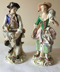 Vintage Pair Of Sitzendorf Period Dress Figures - Shepherd & Shepherdess