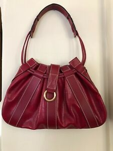 """Lancel bag - red textured leather, satchel, new condition, 13"""" wide, classic"""