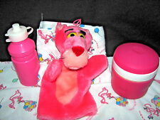 Pink Panther Hand Puppet, Baby/Doll Blankets, plus PinkThermos & Water Bottle