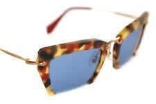 MIU MIU 10Q UA5-4N0 signore delle donne Cat Eye occhiali da sole quadrati ORO Havana BLU CASE