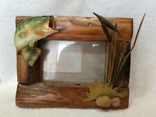 Rivers Edge Fir Wood Picture Frame - Bass, Rocks & Cat Tails-Holds  4 X 6 photo