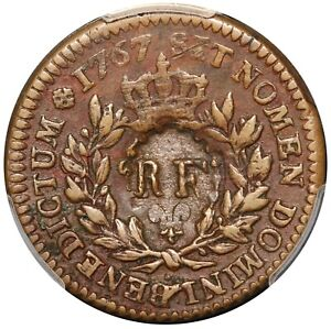 1793 French Colonies Sou RF C/M on 1767-A Sou Coin - PCGS VF 35