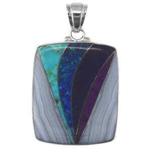Offerings Sajen SSLapis, Turquoise, Blue Lace Agate & Created Opal Inlay Pendant