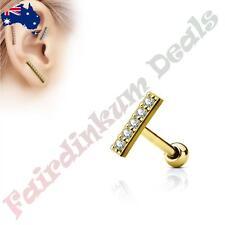 316L Surgical Steel Gold Tragus/Cartilage Stud with 9 mm Cz Gem Lined Long Bar