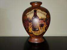 Wine Country Ceramic Decor Pot Vase Flat Jar Painted Vine Growing Bordeaux 1855