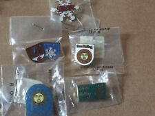 snow ski bum collection of lapel hat vest pins (5) new in packages and vintage