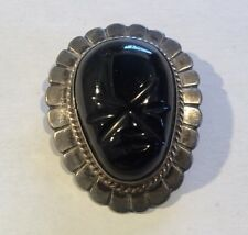 Vintage Made In Mexico Sterling Silver Black Carved Onyx Tribal Mask Brooch Pin