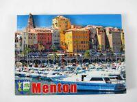 Menton Hafen Cote d `Azur 8 cm Holz Souvenir Magnet,Frankreich,France,Neu
