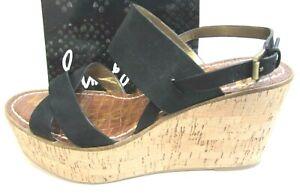 Sam Edelman Size 9.5 Black Leather Platform Wedge Heels New Womens Shoes