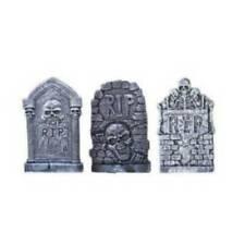 Set of 3 Tombstone Halloween Horror Props 35cm x 20cm Gravestone Props
