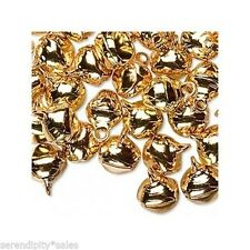 """LOT 500 GOLD JINGLE BELLS Metal Beads Charms Drops 10-12mm (approx 3/8"""" -1/2"""""""
