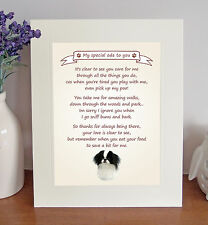 Japanese Chin Thank You FROM THE DOG Poem 8 x 10 Picture/10x8 Print Fun Gift