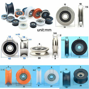 Metal Nylon Pulley Wheel U/V Grooved Sealed Ball Bearings Rope Wire Guide Roller