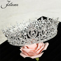 Luxury Full Round Silver Crystal Queen Crown Rhinestone Bridal Tiara Pageant NEW