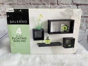 Salerno Set Of 4 Wall Black Floating Rectangle Shelves