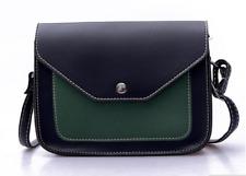 Fashion women ladies green and black soft leather cross body bag purse