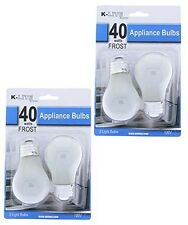 4 Pack 40W 40 Watt Frost Frosted Energy Saving Incandescent Appliance Light Bulb
