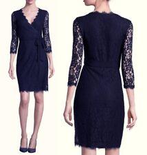 1411fb36fe9 Diane von Furstenberg Navy Julian Two LS Lace Wrap Cocktail Dress sz 12  498