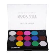 15 Color Face Paint Palette Set Adults Kids Painting Brush Fancy Dress