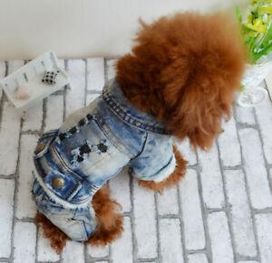 Puppy Dog Cat Jumpsuit Small Pet Retro Cowboy Coat Clothing Warm Jacket Apparel