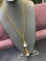 "Vintage 1950's Pendant Necklace Hold With Chain And White Tassel Accent 24"" Long"