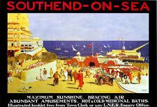 Art Ad Southend on Sea Maximum Sunshine Bracing Air LNER Travel  Poster Print