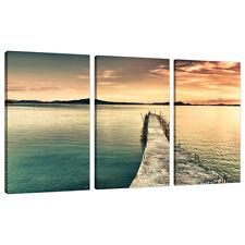 Set di tre pannello Teal CANVAS Wall Art IMMAGINI PAESAGGI STAMPA 3108