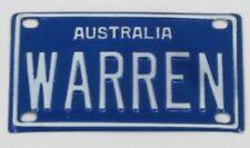 WARREN NOVELTY NAME MINI TIN AUSTRALIAN LICENSE NUMBER PLATE