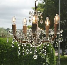 VINTAGE MARIE THERESE STYLE 5 LIGHT GLASS CRYSTAL CHANDELIER #S