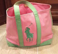 "RALPH LAUREN Pink Green Canvas Beach Tote Bag 13"" x 16"" Big Pony Logo"