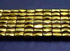 """Small 5*8mm column Faceted Gold Hematite Magnetic Loose Beads strand 15"""" -los708"""