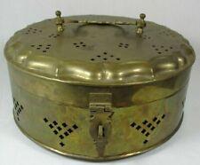 """Vtg. Large Brass Small Clover Punced Design Potpourri Holder W/Handled Lid 12"""""""