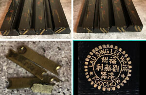 Antique Chinese Wood Mah Jong Tile Racks Painted Japanese Black Lacquer
