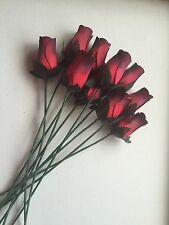 12 Romantic Red Wooden Roses Artificial Flowers Weddings Wholesale Valentines