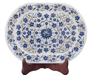 """9""""x12"""" White Marble Slab Tray Plate Rare Lapis Marquetry Floral Decor Gift H2765"""