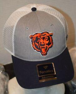 NWT Chicago Bears Fanatics Brand Bear Logo Men's Snap Navy/gray/WH Cap/Hat NWT