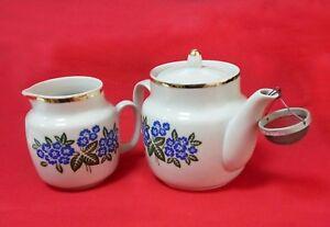 Vintage Teapot set USSR Creamer Gold Flowers white strainer Soviet
