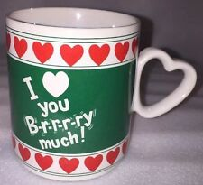 Vintage 1987 enesco I Love you Brrrry Much! Ceramic Mug Cup Heart Handle