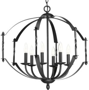 Chandelier 6-Light 26 in. Dia x 23-1/2 in. H Iron Frame Cage/Candle-Style Black