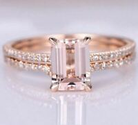 2Ct Emerald Cut Morganite Diamond Bridal Engagement Ring 14K Rose Gold Finish