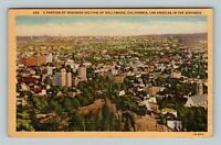 Hollywood CA, Aerial View Of Business Section, Linen California Postcard