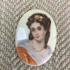 Vintage Limoges Porcelain Cameo Plaque Hand Painted portrait Picture Girl Lady